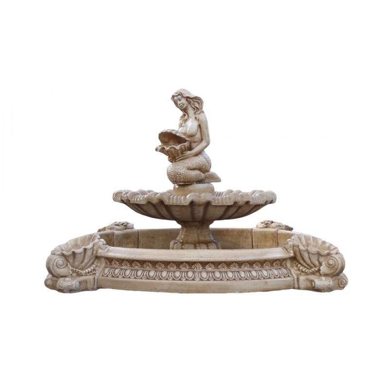 Fontanna ogrodowa - basen z fontanną i piękną syreną Art.1062